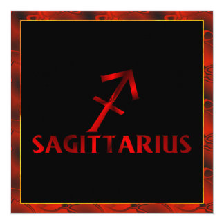 Red Sagittarius Horoscope Symbol Card