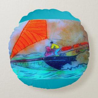 red sail schooner round throw pillow round pillow