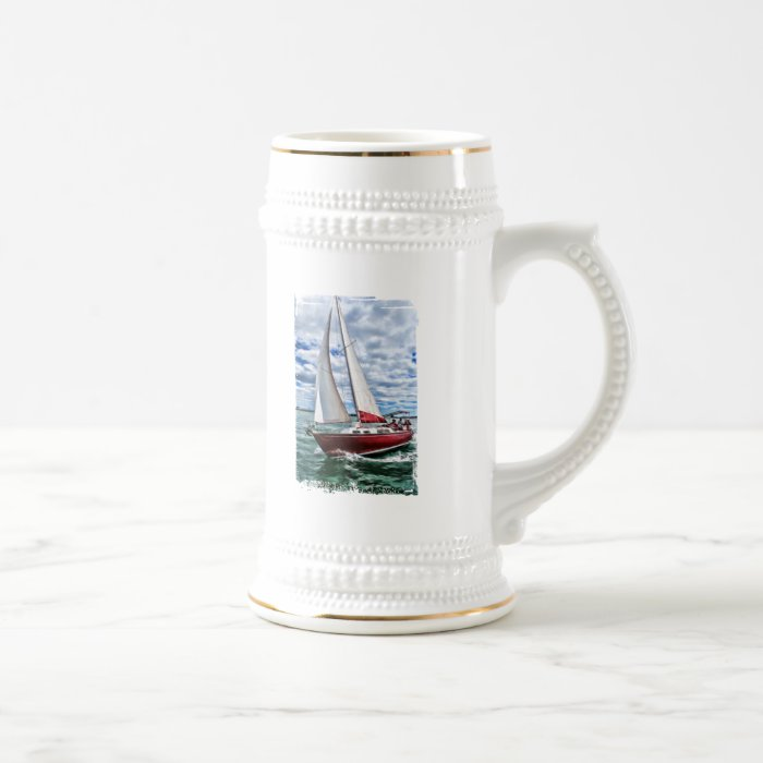 Red Sailboat, Blue Sky, Green Sea Edges Beer Stein