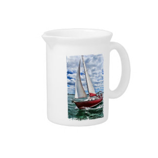 Red Sailboat, Blue Sky, Green Sea Edges Beverage Pitchers