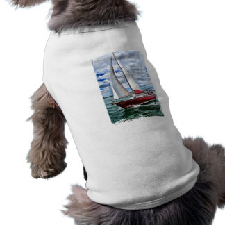 Red Sailboat, Blue Sky, Green Sea Edges Tee