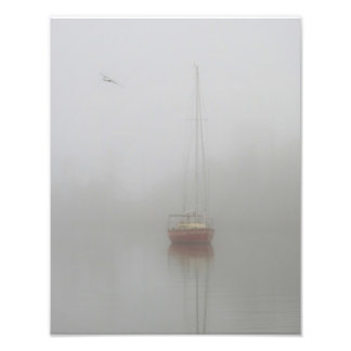 Red Sailboat Morning Fog Photo