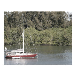 Red Sailboat on River Trees Behind Flyer