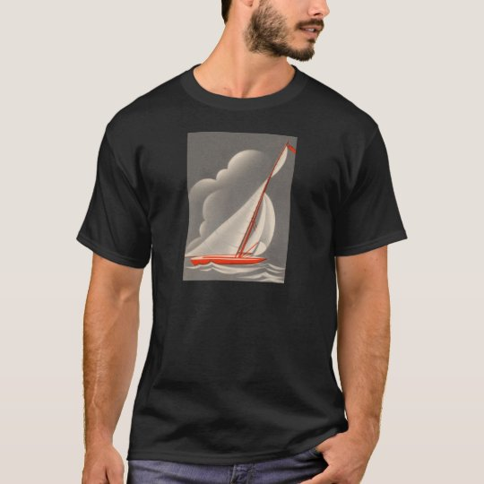 Red Sailboat Stormy Skies T-Shirt