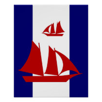 Red Sailboats navy & white stripes print poster