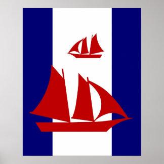 Red Sailboats navy & white stripes print poster