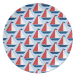 Red Sailboats Plate