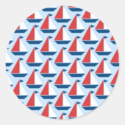 Red Sailboats Print Classic Round Sticker