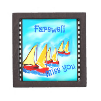 Red sailing boats leave on a voyage keepsake box