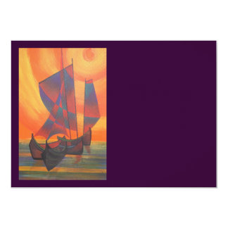Red Sails in the Sunset Cubist Junk Abstract Card