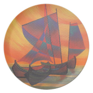 Red Sails in the Sunset Cubist Junk Abstract Plate