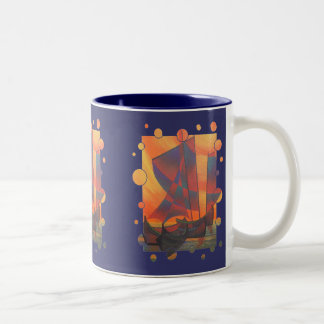 Red Sails In The Sunset Two-Tone Coffee Mug