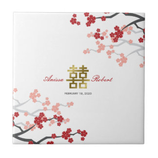 Red Sakura Blossoms Chinese Wedding Gold Gift Tile