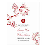 Red Sakura Blossoms Double Happiness Save The Date Postcard