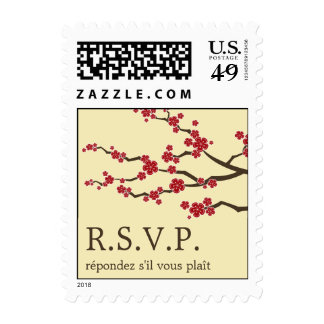 Red Sakura Blossoms Zen Asian Wedding RSVP Stamps