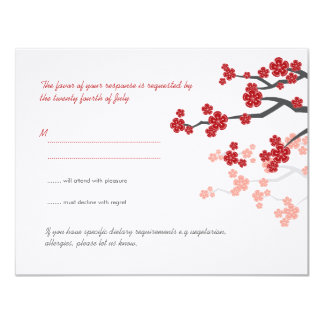 Red Sakura Cherry Blossoms Asian Wedding RSVP Card