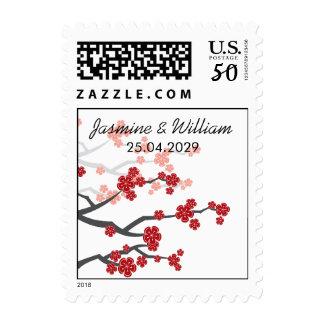 Red Sakura Cherry Blossoms Asian Wedding Stamps