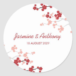 Red Sakura Cherry Blossoms Asian Wedding Sticker