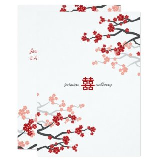 Red Sakura Cherry Blossoms Flowers Chinese Wedding Card