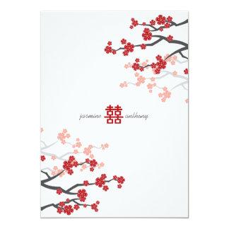 Red Sakura Cherry Blossoms Flowers Chinese Wedding Card