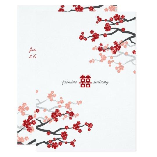 Red Sakura Cherry Blossoms Flowers Chinese Wedding Invitation