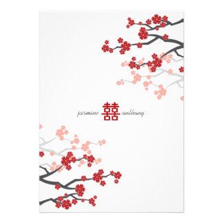 Red Sakura Cherry Blossoms Flowers Chinese Wedding Custom Announcements