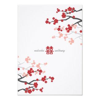 Red Sakura Cherry Blossoms Flowers Chinese Wedding Custom Invitation