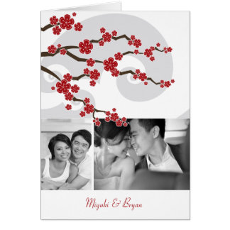 Red Sakura Cherry Blossoms Photo Wedding Thank You Stationery Note Card