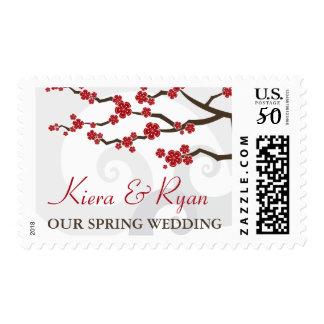 Red Sakura Cherry Blossoms Swirls Wedding Stamps
