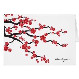 Red Sakura Cherry Blossos Wedding Thank You Card