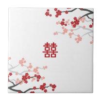 Red Sakura Chinese Wedding Custom Gift Tile