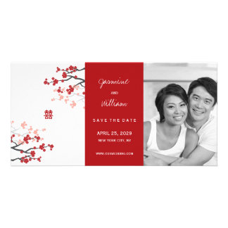 Red Sakura Double Happiness Chinese Save The Date Card