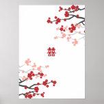 Red Sakura Double Happiness Chinese Wedding Poster