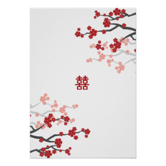Red Sakura Double Happiness Chinese Wedding Poster
