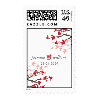 Red Sakura Double Happiness Chinese Wedding Stamps