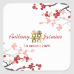 Red Sakura Double Happiness Chinese Wedding Stic Square Sticker