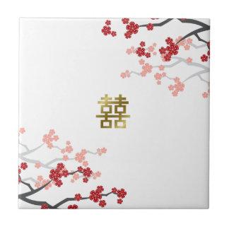 Red Sakura Double Happiness Chinese Wedding Tile