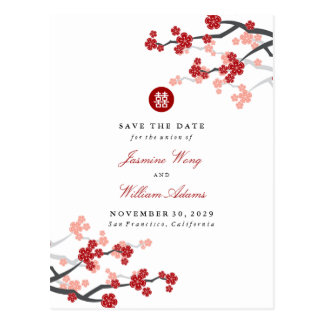 Red Sakura Double Happiness Save The Date Postcard