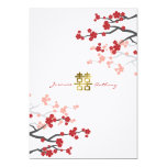 "Red Sakura Flowers Double Happiness Wedding Invite 5"" X 7"" Invitation Card"