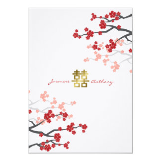 Red Sakura Flowers Double Happiness Wedding Invite Announcement