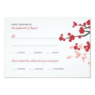 Red Sakura Flowers Double Happiness Wedding RSVP 3.5x5 Paper Invitation Card