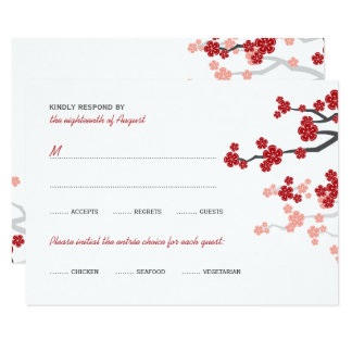 Red Sakura Flowers Double Happiness Wedding RSVP Card