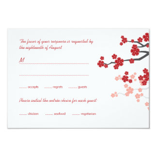 Red Sakura Flowers Double Happiness Wedding RSVP Personalized Invitations