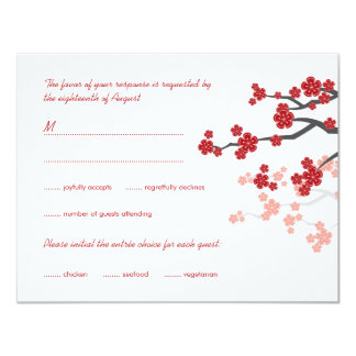Red Sakura Flowers Double Happiness Wedding RSVP Personalized Invites