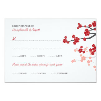 Red Sakura Flowers Double Happiness Wedding RSVP 3.5x5 Paper Invitation Card