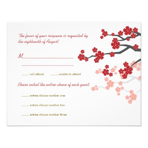 Red Sakura Flowers Gold Double Happiness RSVP Card