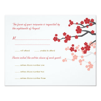 Red Sakura Flowers Gold Double Happiness RSVP Card Custom Invitation