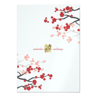 Red Sakura Flowers Gold Double Happiness Wedding Personalized Invite