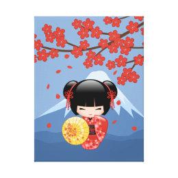 Red Sakura Kokeshi Doll - Cute Geisha Girl Canvas Print