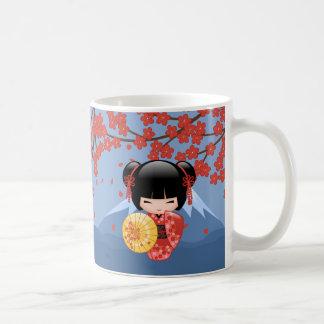 Red Sakura Kokeshi Doll - Cute Geisha Girl Coffee Mug